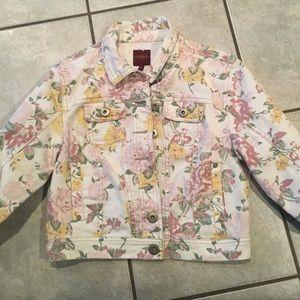 Highway Jeans Denim Jacket floral juniors M